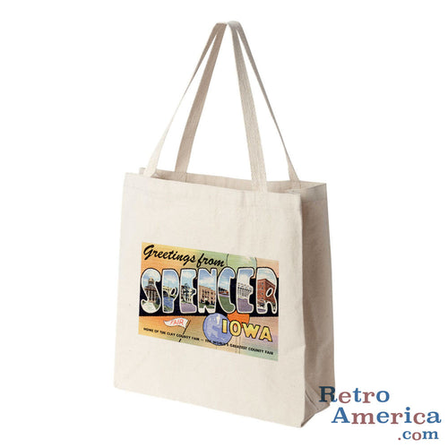 Greetings from Spencer Iowa IA Postcard Tote Bag