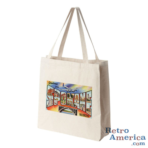 Greetings from Spokane Washington WA Postcard Tote Bag