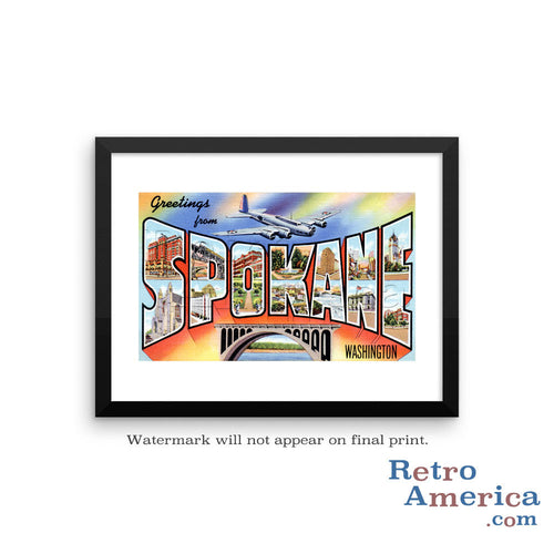 Greetings from Spokane Washington WA Postcard Framed Wall Art