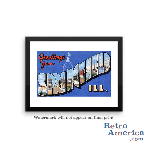 Greetings from Springfield Illinois IL Postcard Framed Wall Art