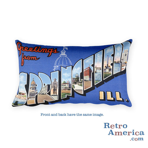 Greetings from Springfield Illinois Throw Pillow