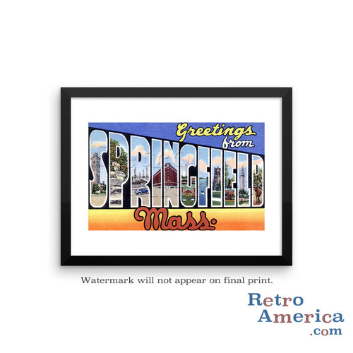 Greetings from Springfield Massachusetts MA Postcard Framed Wall Art