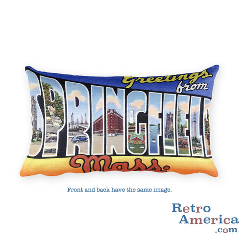 Greetings from Springfield Massachusetts Throw Pillow