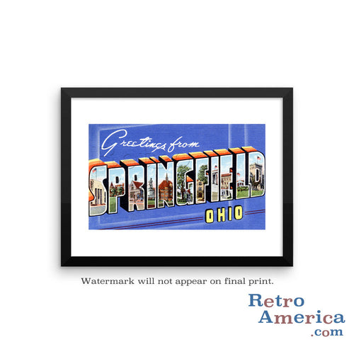 Greetings from Springfield Ohio OH Postcard Framed Wall Art