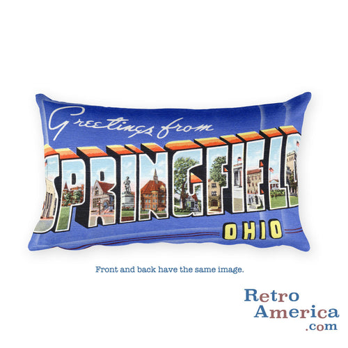 Greetings from Springfield Ohio Throw Pillow