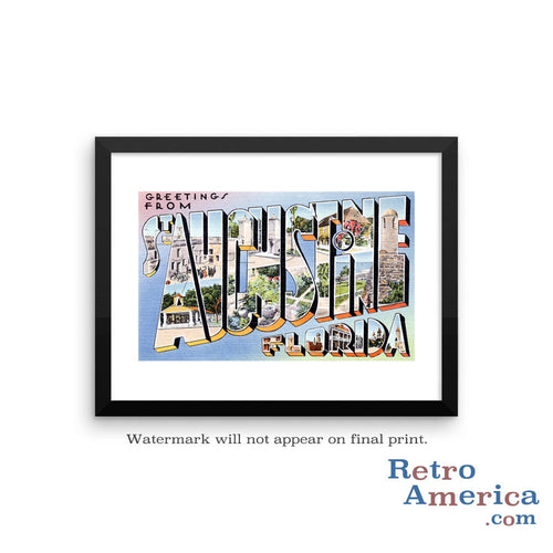 Greetings from St Augustine Florida FL 1 Postcard Framed Wall Art