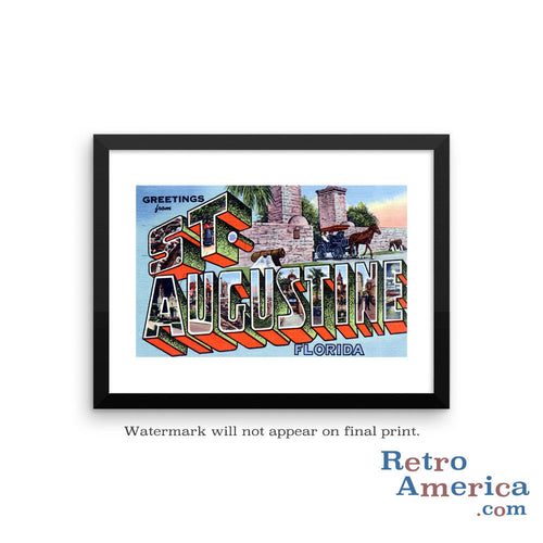 Greetings from St Augustine Florida FL 2 Postcard Framed Wall Art