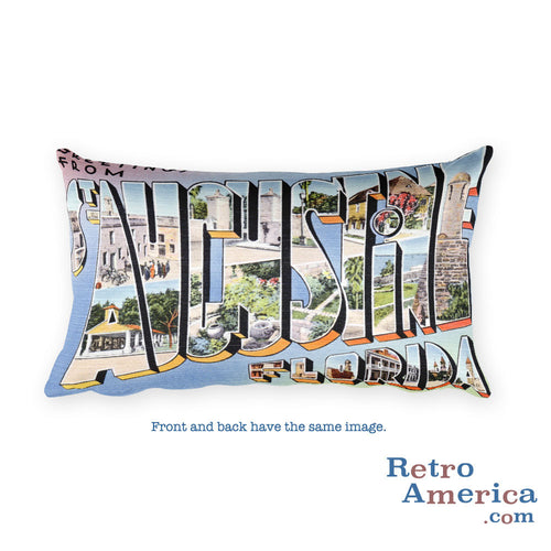 Greetings from St Augustine Florida Throw Pillow 1