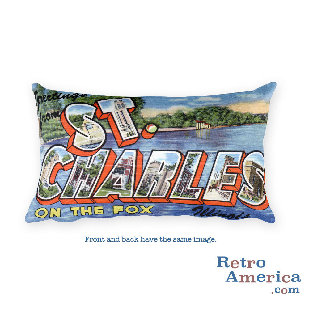 Greetings from St Charles Illinois Throw Pillow