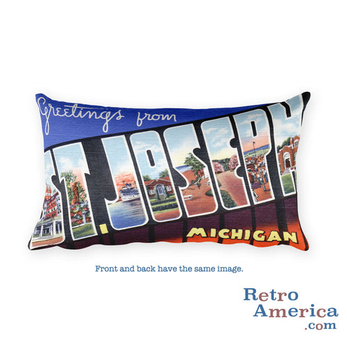 Greetings from St Joseph Michigan Throw Pillow