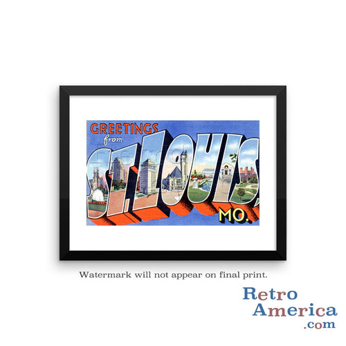 Greetings from St Louis Missouri MO 2 Postcard Framed Wall Art