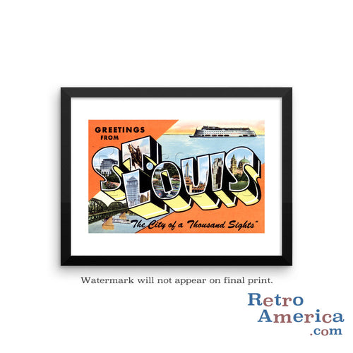 Greetings from St Louis Missouri MO 3 Postcard Framed Wall Art