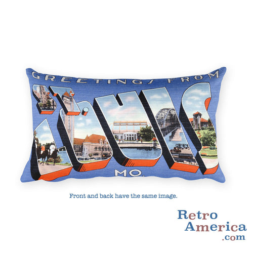Greetings from St Louis Missouri Throw Pillow 1