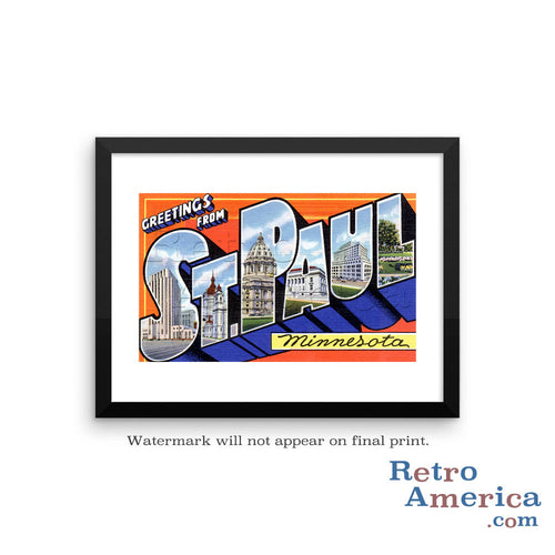 Greetings from St Paul Minnesota MN 1 Postcard Framed Wall Art