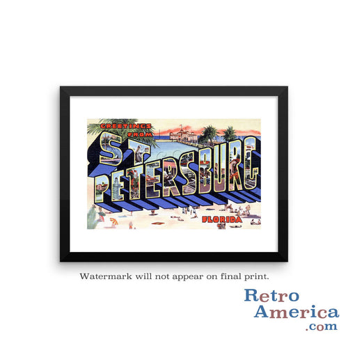 Greetings from St Petersburg Florida FL Postcard Framed Wall Art