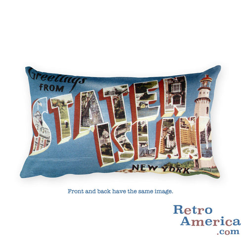 Greetings from Staten Island New York Throw Pillow 1