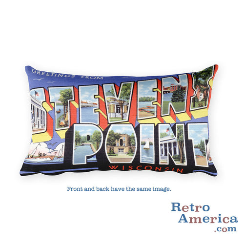 Greetings from Stevens Point Wisconsin Throw Pillow