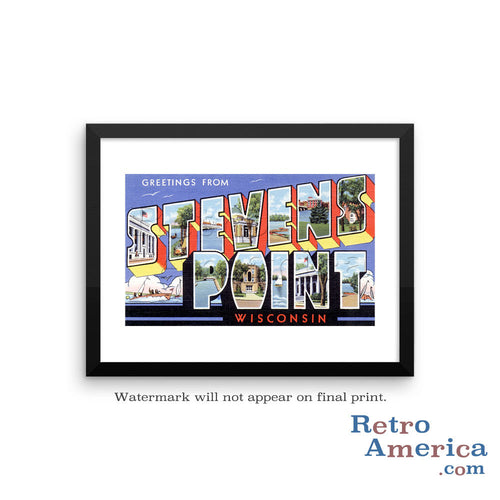 Greetings from Stevens Point Wisconsin WI Postcard Framed Wall Art