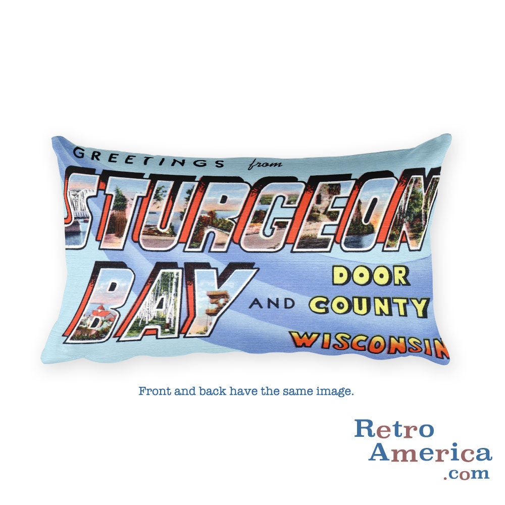 Greetings from Sturgeon Bay Wisconsin Throw Pillow