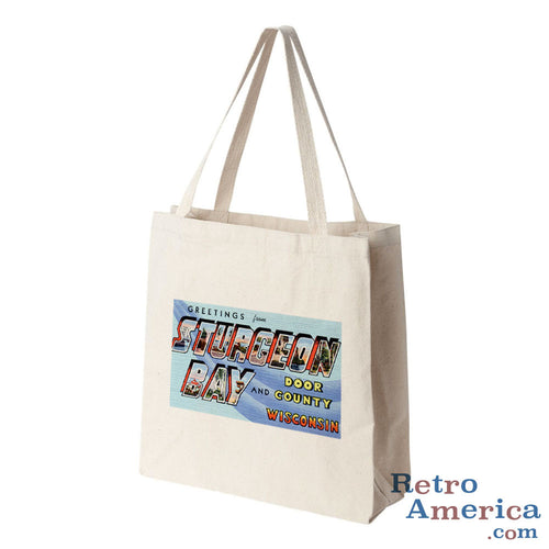 Greetings from Sturgeon Bay Wisconsin WI Postcard Tote Bag