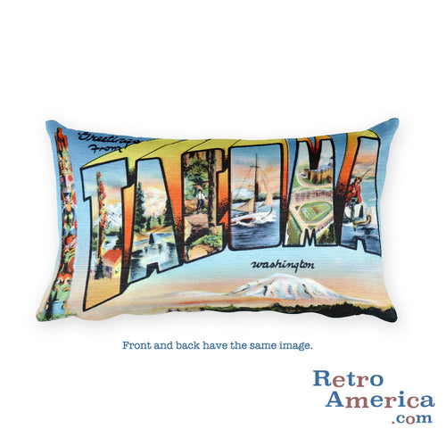 Greetings from Tacoma Washington Throw Pillow