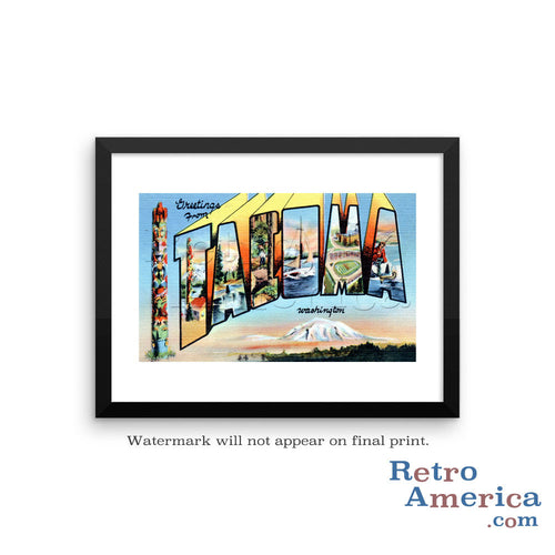 Greetings from Tacoma Washington WA Postcard Framed Wall Art