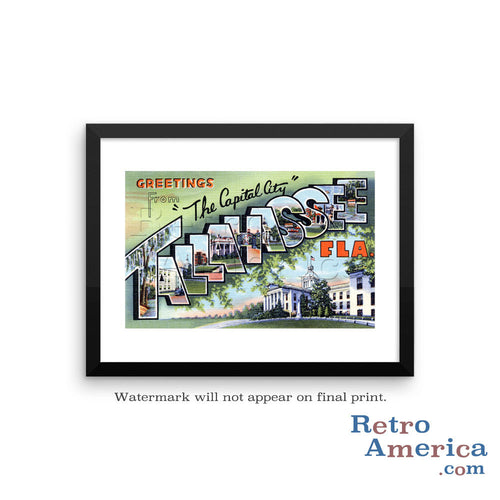 Greetings from Tallahassee Florida FL 1 Postcard Framed Wall Art
