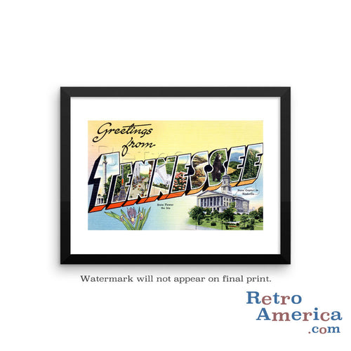 Greetings from Tennessee TN Postcard Framed Wall Art