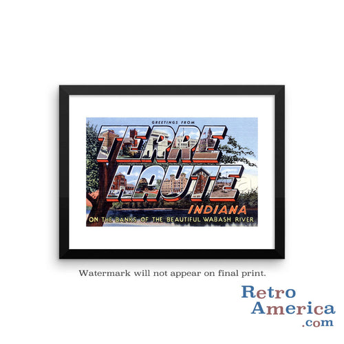 Greetings from Terre Haute Indiana IN 1 Postcard Framed Wall Art
