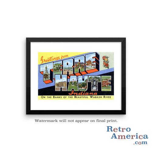 Greetings from Terre Haute Indiana IN 2 Postcard Framed Wall Art