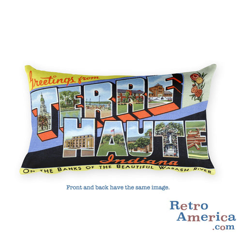 Greetings from Terre Haute Indiana Throw Pillow