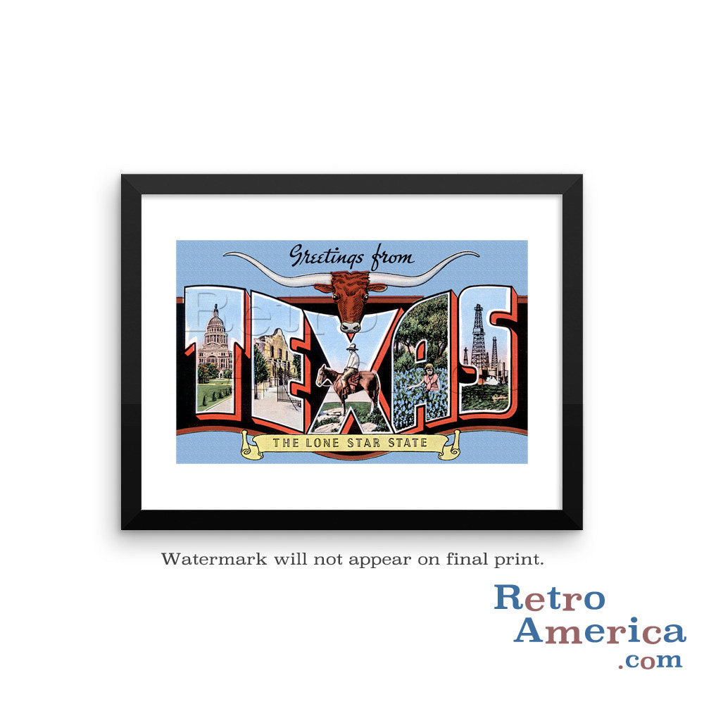 Greetings from Texas TX 7 Postcard Framed Wall Art