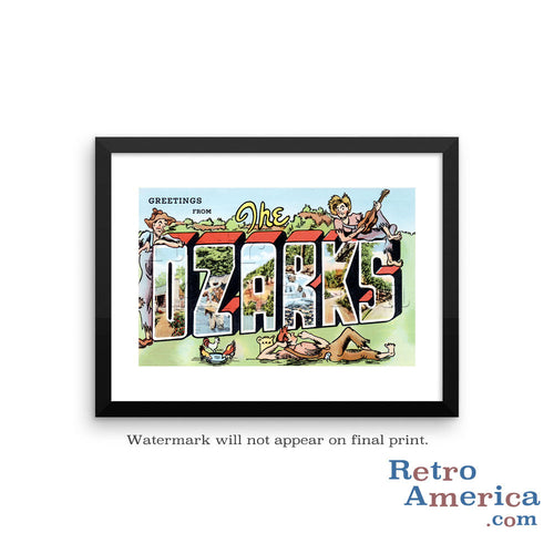 Greetings from The Ozarks Missouri MO Postcard Framed Wall Art