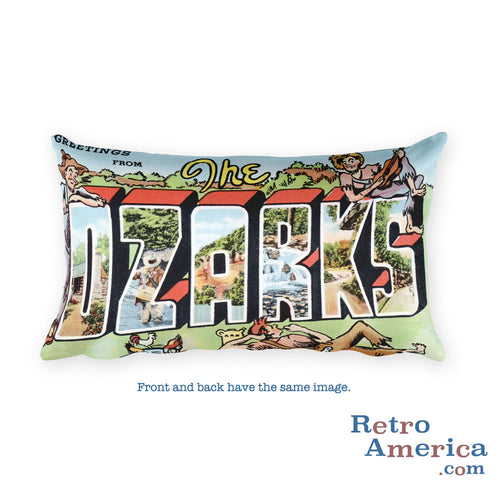 Greetings from The Ozarks Missouri Throw Pillow