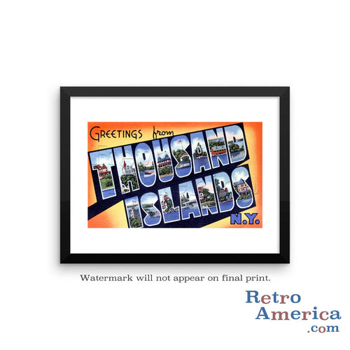 Greetings from Thousand Islands New York NY Postcard Framed Wall Art