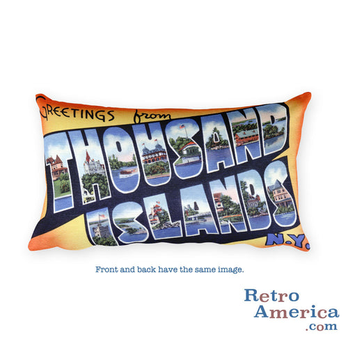 Greetings from Thousand Islands New York Throw Pillow