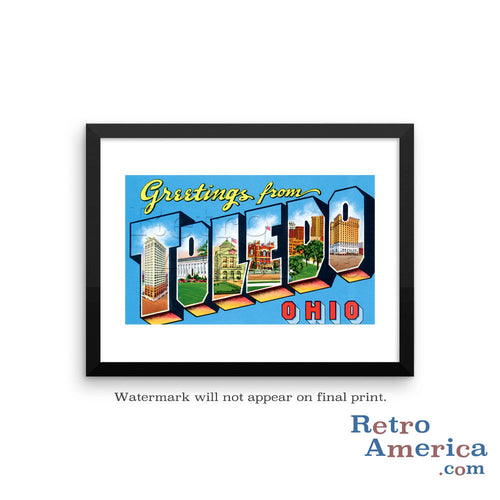 Greetings from Toledo Ohio OH 1 Postcard Framed Wall Art