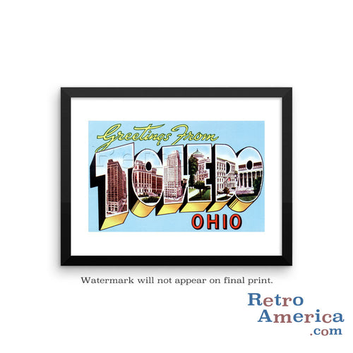 Greetings from Toledo Ohio OH 2 Postcard Framed Wall Art