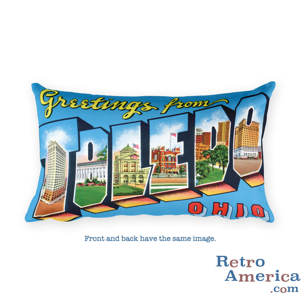 Greetings from Toledo Ohio Throw Pillow 1