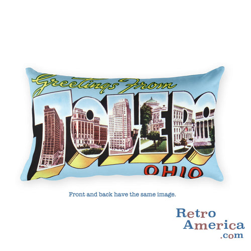 Greetings from Toledo Ohio Throw Pillow 2