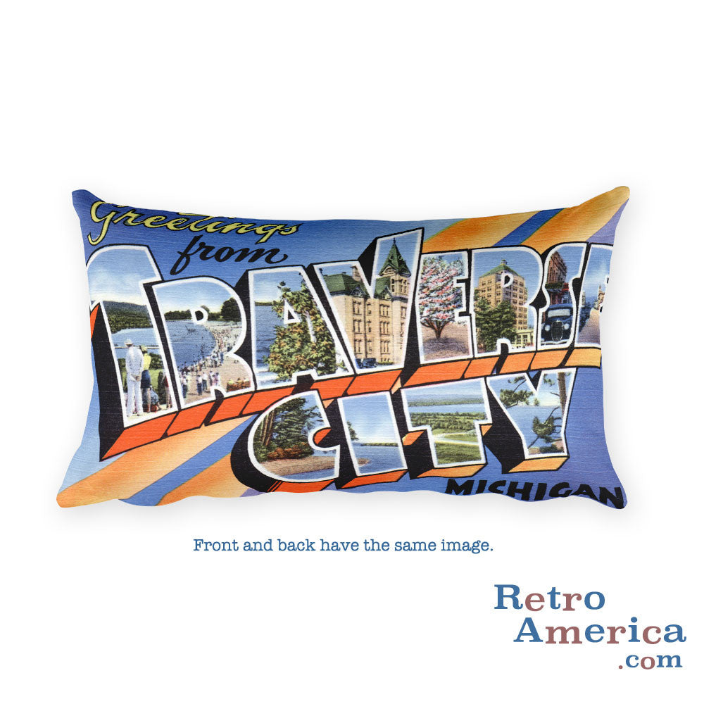 Greetings from Traverse City Michigan Throw Pillow