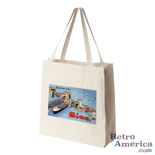 Greetings from Two Harbors Minnesota MN Postcard Tote Bag