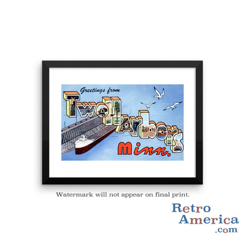 Greetings from Two Harbors Minnesota MN Postcard Framed Wall Art