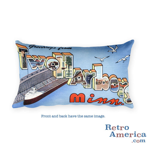 Greetings from Two Harbors Minnesota Throw Pillow