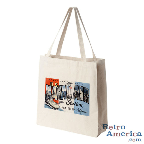 Greetings from Us Naval Air Station San Diego California CA Postcard Tote Bag