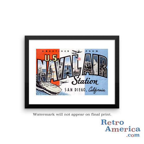 Greetings from Us Naval Air Station San Diego California CA Postcard Framed Wall Art