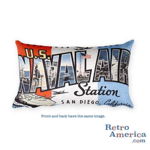 Greetings from Us Naval Air Station San Diego California Throw Pillow
