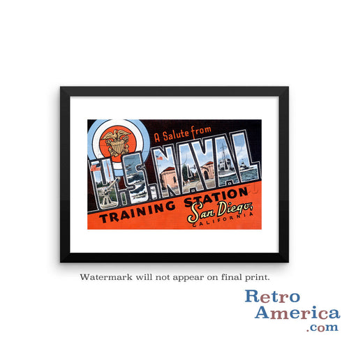 Greetings from Us Naval Training Station California CA Postcard Framed Wall Art