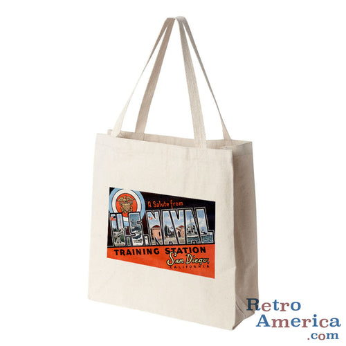 Greetings from Us Naval Training Station California CA Postcard Tote Bag