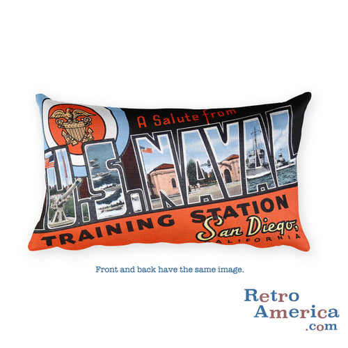 Greetings from Us Naval Training Station California Throw Pillow